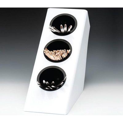 Zicco Kahve-Çay Kaşığı Standı, 3 Gözlü, Polikarbon, 27x14.5x h:28.5 cm, Beyaz