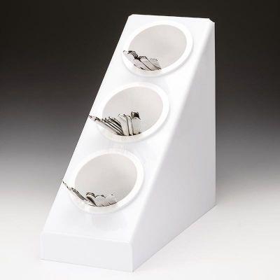 Zicco Çatal Kaşık Standı, 3 Gözlü, Polikarbon, 20.8x41.5x h:41 cm, Beyaz