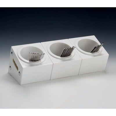 Zicco Çatal Kaşık Standı, 3 Gözlü, Polikarbon, 48x18x h:18 cm, Beyaz