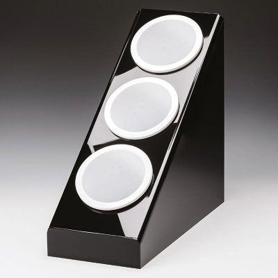 Zicco Çatal Kaşık Standı, 3 Gözlü, Polikarbon, 20.8x41.5x h:41 cm, Siyah