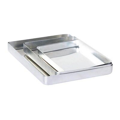 Al Metal Baklava Tepsisi, Köşeli, İnce, Tek Kullanımlık, 25x35x3.5 cm