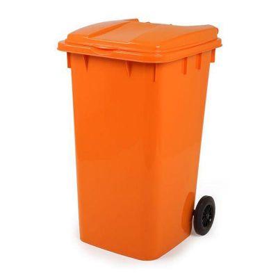 Bora Plastik - Bora Plastik Pedallı Çöp Kovası, 240 L, Turuncu (1)