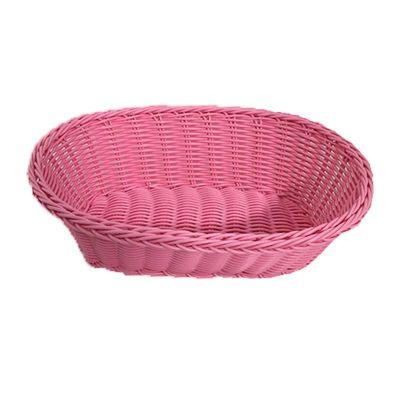 Cafemarkt Oval Ekmek Sepeti, İnce, Plastik, 24x17x7 cm, Pembe