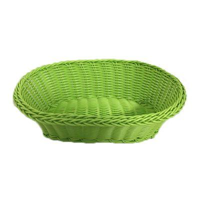 Cafemarkt Oval Ekmek Sepeti, İnce, Plastik, 24x17x7 cm, Yeşil