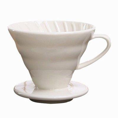 Cafemarkt V60 Dripper, Seramik, Beyaz