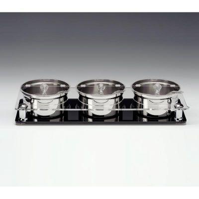 Zicco Sosluk Reçellik Standı, 3'lü, Polikarbon Kapaklı, Çelik Altlı, 17.5x49x h:8.5 cm