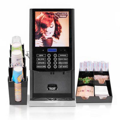 Coffee Tech - Coffee Tech Horeca 300 Instant Kahve Makinesi + Peçete ve Karıştırıcı Standı + Bardaklık Standı (1)