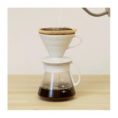 Hario - Hario V60 02 Kahve Demleme Seti, Seramik, Beyaz (1)