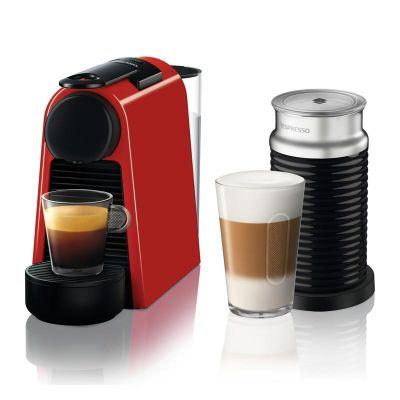 Nespresso Essenza Mini D 35 Bundle Kahve Makinesi, Süt Köpürtücülü, Kırmızı