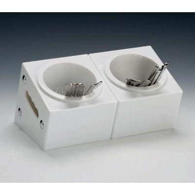 Zicco Çatal Kaşık Standı, 2 Gözlü, Polikarbon, 33x18x h:18 cm, Beyaz