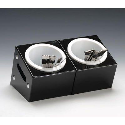 Zicco Çatal Kaşık Standı, 2 Gözlü, Polikarbon, 33x18x h:18 cm, Siyah