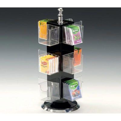 Zicco Poşet Çay Standı, Polikarbon Gözlü, 12 Bölmeli, Döner, Akrilik, h:36 cm, Siyah