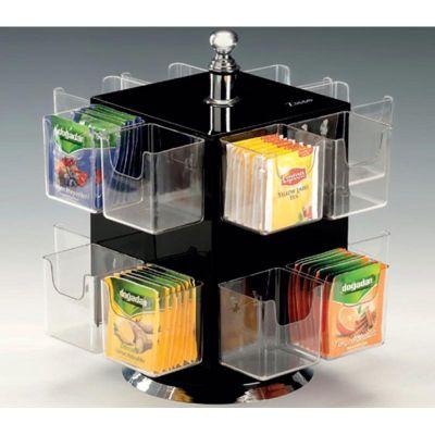 Zicco Poşet Çay Standı, Polikarbon Gözlü, 16 Bölmeli, Döner, Akrilik, h:26 cm, Siyah