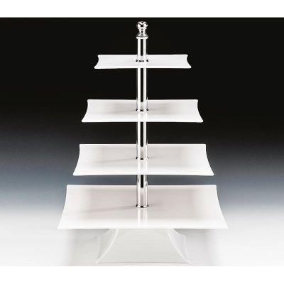 Zicco Teşhir Standı, Dört Katlı, Polikarbon, 20x25x30x35 h:50 cm, Beyaz