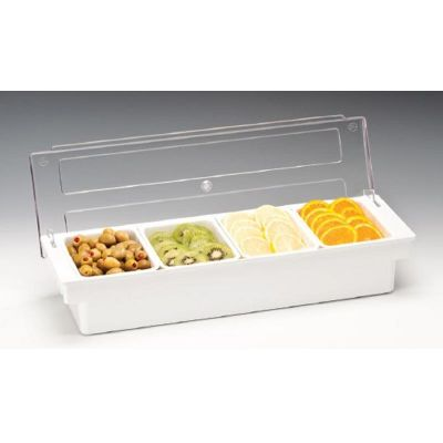 Zicco Bar Konteyner, 4'lü, Kapaklı, Polikarbon, 50x16x h:9.5 cm Beyaz