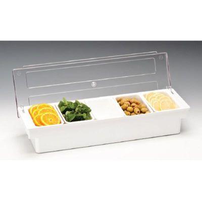 Zicco Bar Konteyner, 5'li, Kapaklı, Polikarbon, 50x16x h:9.5 cm Beyaz