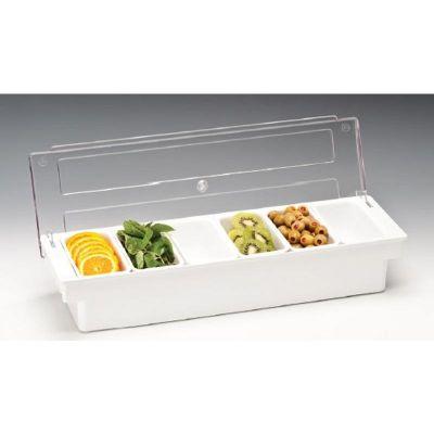 Zicco Bar Konteyner, 6'lı, Kapaklı, Polikarbon, 50x16x h:9.5 cm Beyaz