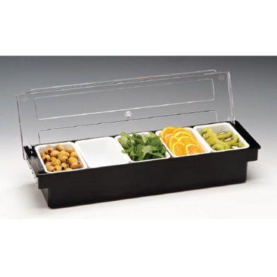 Zicco Bar Konteyner, 5'li, Kapaklı, Polikarbon, 50x16x h:9.5 cm Siyah