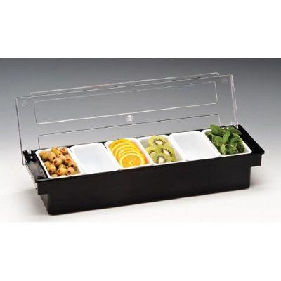 Zicco Bar Konteyner, 6'lı, Kapaklı, Polikarbon, 50x16x h:9.5 cm, Siyah