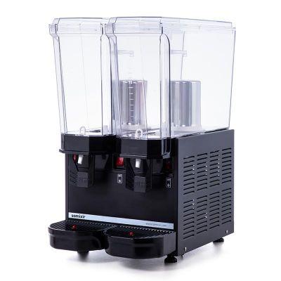 Samixir Klasik Twin Soğuk İçecek Dispenseri, 20+20 L, Fıskiyeli, Siyah