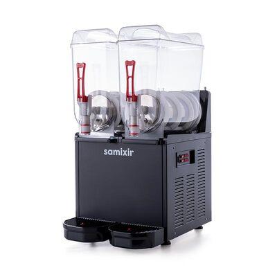 Samixir - Samixir Twin Ice Slush Granita ve Soğuk Meyve Suyu Dispenseri, 12+12 L, Siyah (1)